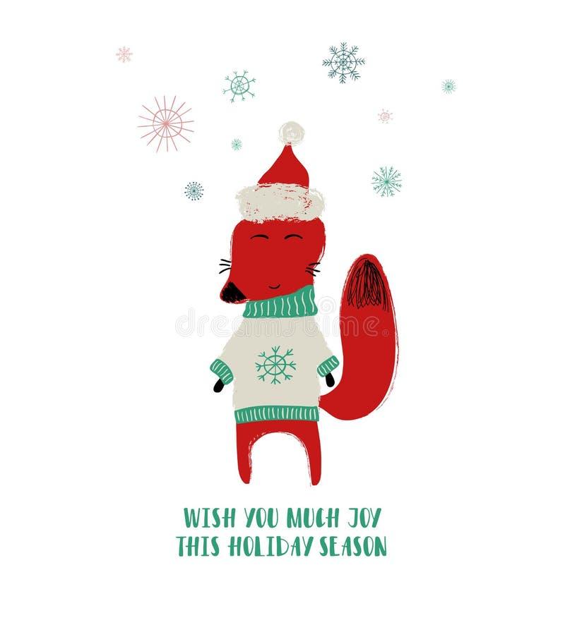 Netter Fox im Weihnachtshut lizenzfreie abbildung