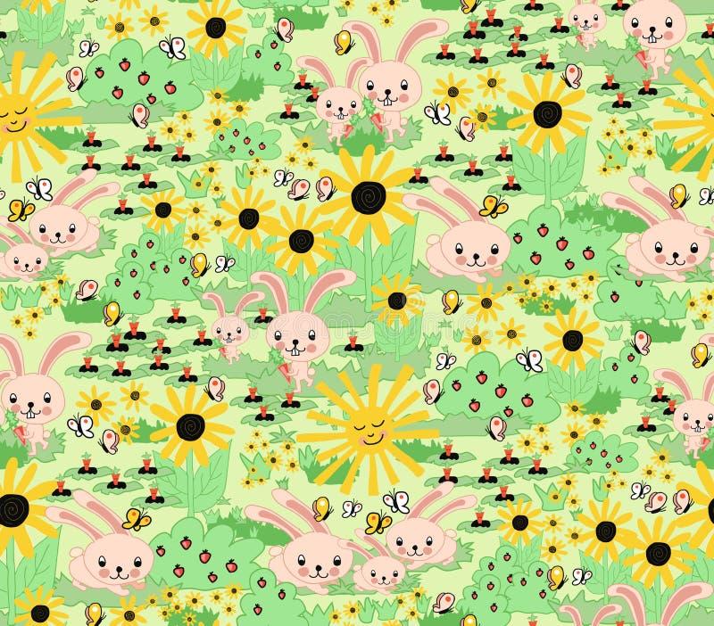 Netter Frühjahr-Häschenentwurf Nahtloser Hintergrund für Kinder Häschenkarottensonnenblumen arbeiten grünes gelbes rosa nahtloses lizenzfreie abbildung
