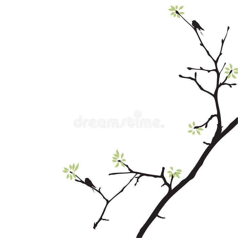 Netter Frühlingsbaum mit Vögeln stock abbildung