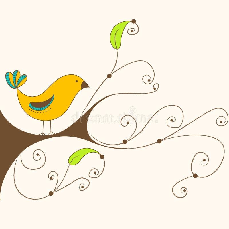 Netter Frühlingsvogel auf einem Zweig lizenzfreie abbildung