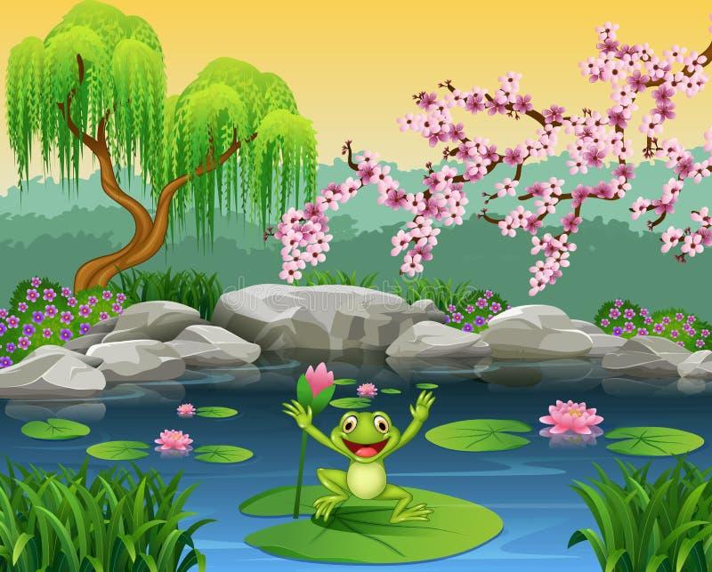 Netter Frosch, der auf das Lilienwasser springt stock abbildung
