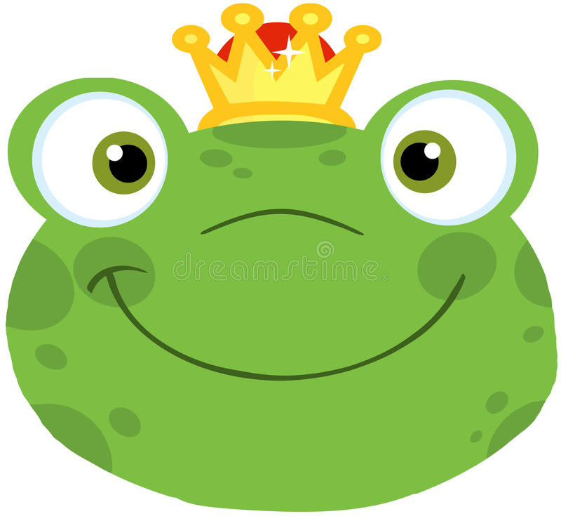 Netter Frosch-lächelnder Kopf mit Krone stock abbildung