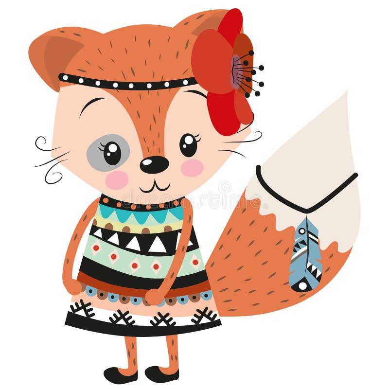 Netter Fuchs auf einem weißen Hintergrund lizenzfreie abbildung