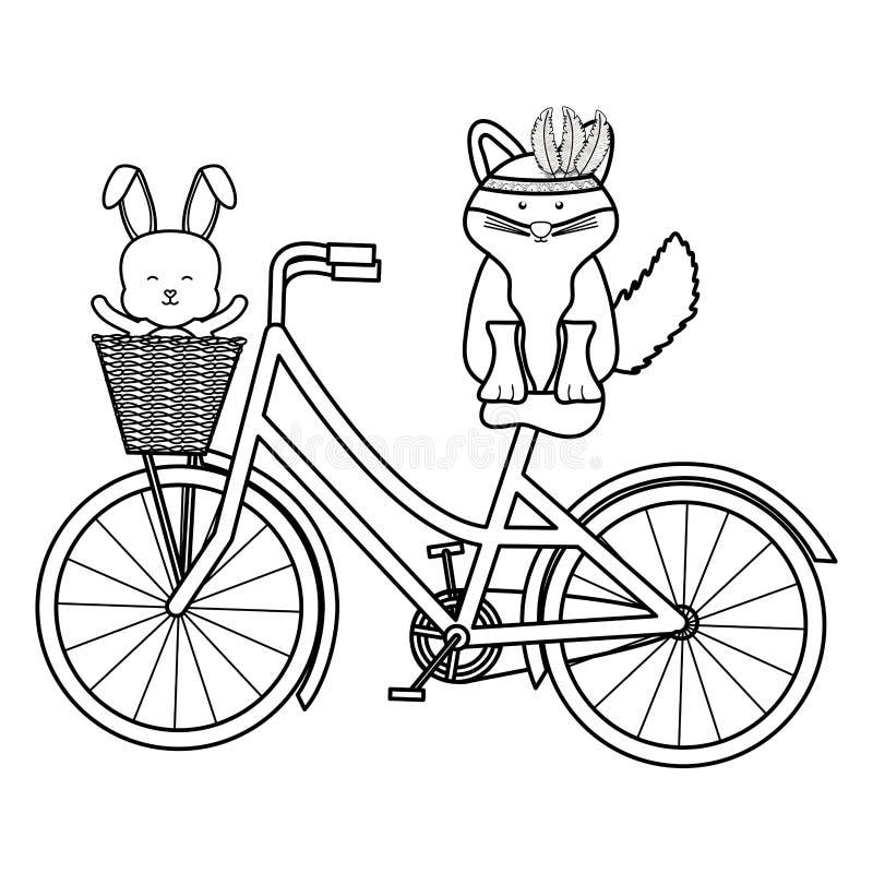 Netter Fuchs und Kaninchen mit Federhut in der böhmischen Art des Fahrrades stock abbildung