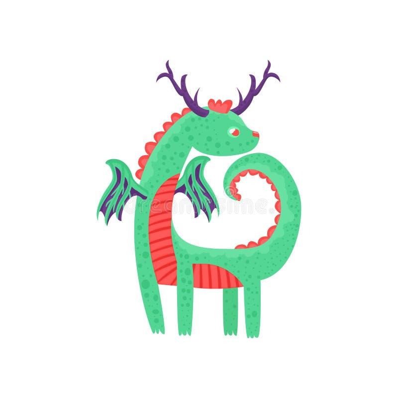 Netter gehörnter Babydrachecharakter, mythisches Tier, Fantasiereptil-Vektor Illustration vektor abbildung