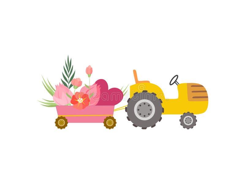 Netter gelber Traktor mit Wagen mit Herzen und Blumen, bunte landwirtschaftliche Bauernhof-Transport-Vektor-Illustration stock abbildung