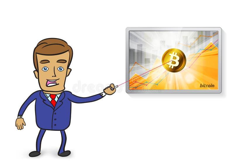 Netter Geschäftsmann, der auf goldenes bitcoin cryptocurrency im Th zeigt vektor abbildung