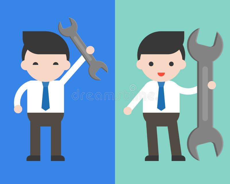 Netter Geschäftsmann oder Manager, die Schlüssel, gebrauchsfertiges charact halten stock abbildung