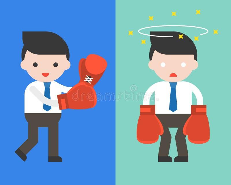 Netter Geschäftsmann oder Manager mit den Boxhandschuhen, Kampf a beginnend vektor abbildung