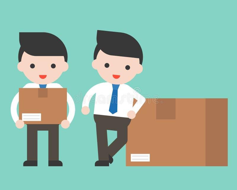 Netter Geschäftsmann oder Manager mit Paketkasten, gebrauchsfertiger Charaban stock abbildung