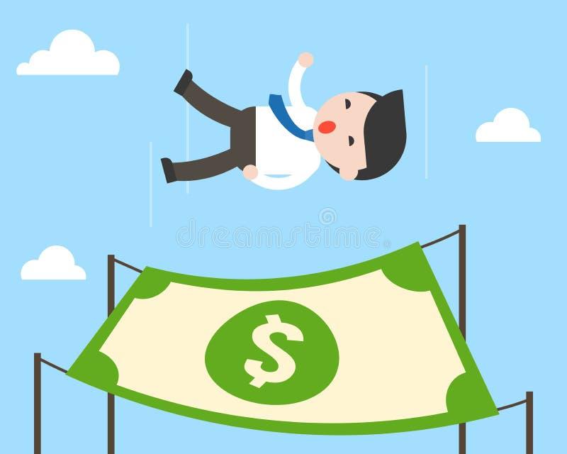 Netter Geschäftsmannfreier fall vom Himmel mit Dollarbanknote für lan lizenzfreie abbildung