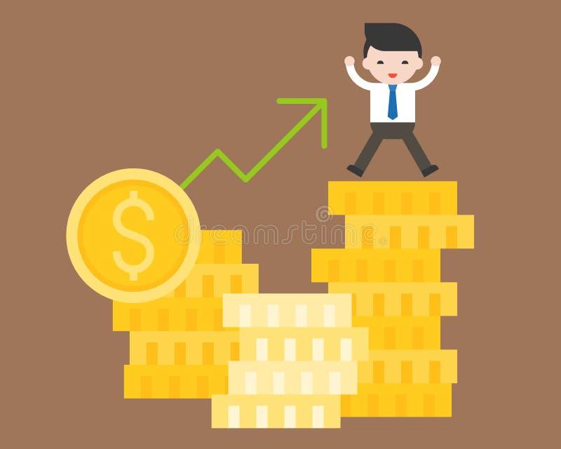 Netter Geschäftsmannstand auf Stapel der Goldmünze, Geschäft situatio stock abbildung