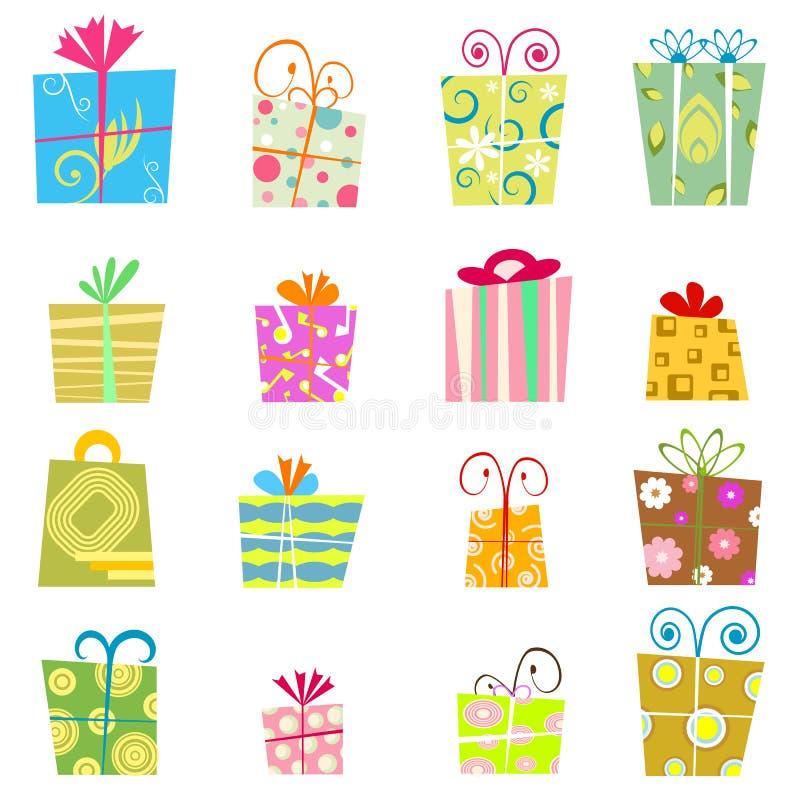 Netter Geschenkkastenvektor lizenzfreie abbildung