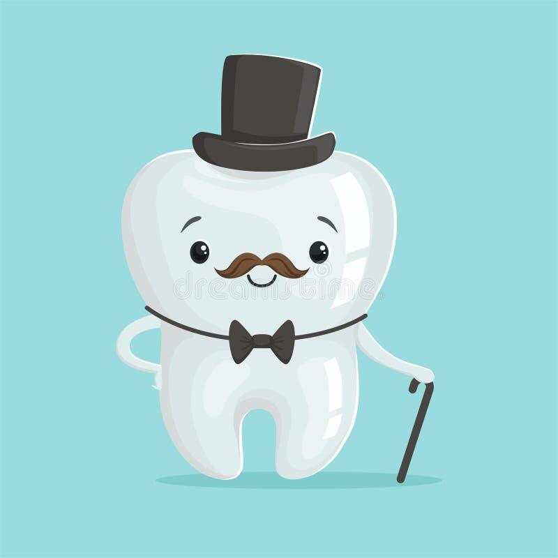 Netter gesunder weißer Karikaturzahn-Herrcharakter, der schwarzen Zylinder, Zahnheilkunde-Konzeptvektor der Kinder trägt vektor abbildung