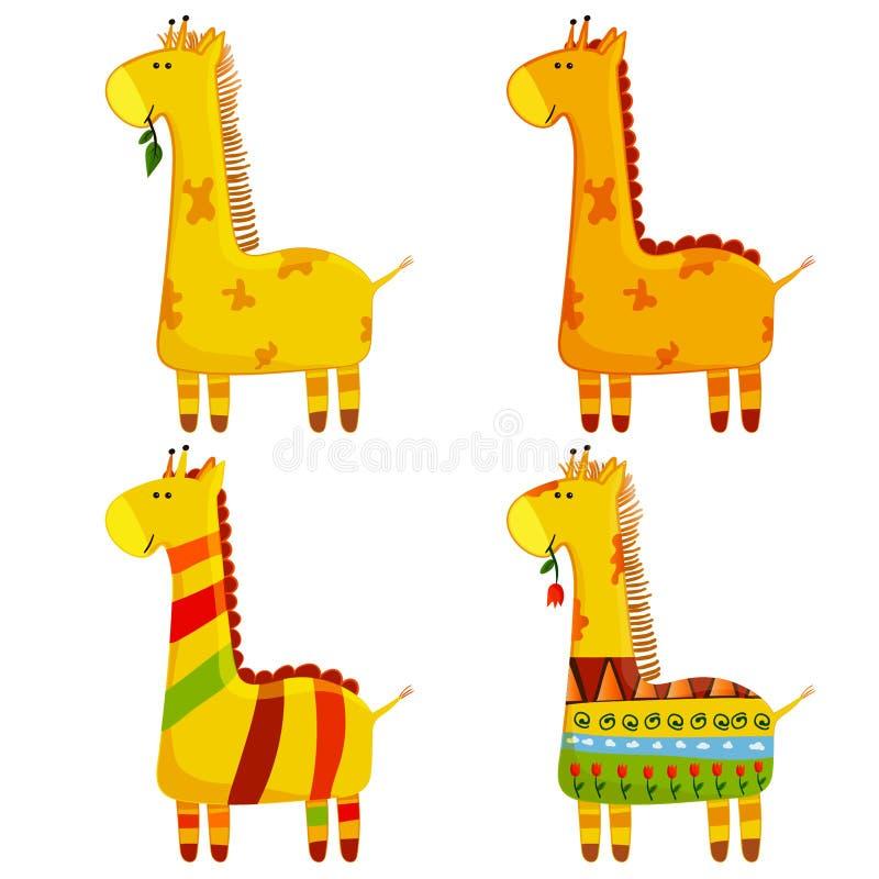 Netter Giraffen-Vektor-Satz Sammlung in den verschiedenen Haltungen Lustige Zeichen eingestellt Karikaturgiraffe in der Kinderart vektor abbildung