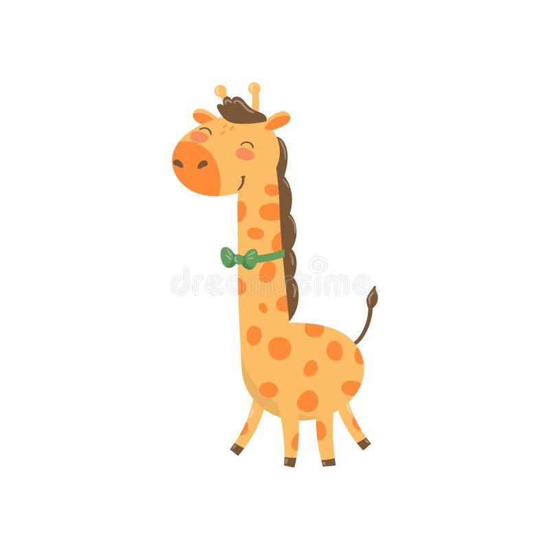 Netter Giraffencharakter mit grüner Fliege Wildes Tier der Karikatur mit langem Hals und beschmutztem Körper Bunter flacher Vekto lizenzfreie abbildung