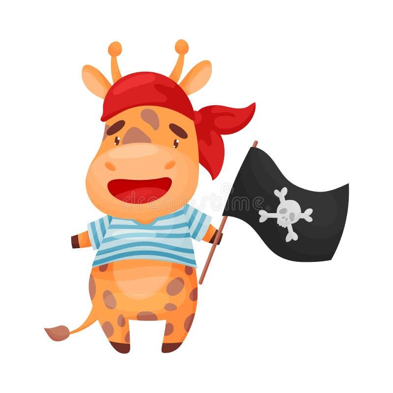 Netter Giraffenpirat Vektorabbildung auf wei?em Hintergrund lizenzfreie abbildung