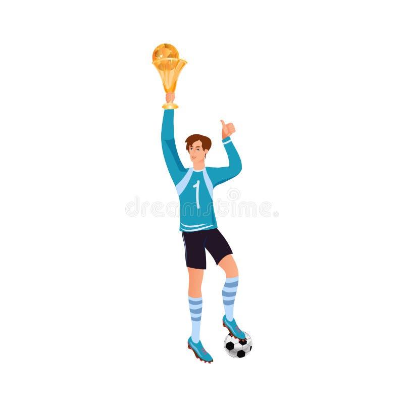 Netter glücklicher Fußballspieler in der blauen Uniform steigen oben Cup lizenzfreie abbildung