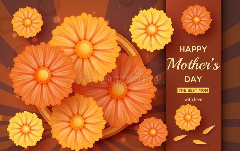 Netter glücklicher Mutter-Tageshintergrund in der Papierkunstart stock abbildung