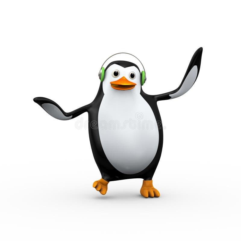 netter glücklicher singender und tanzender Pinguin 3d lizenzfreie abbildung