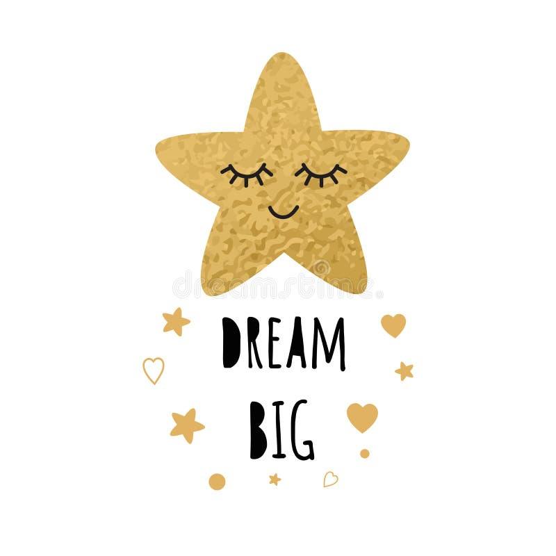 Netter goldener Schlafenstern Positiver Slogan Traum-großes Herz-Babyart-Entwurfsplakat lizenzfreie abbildung