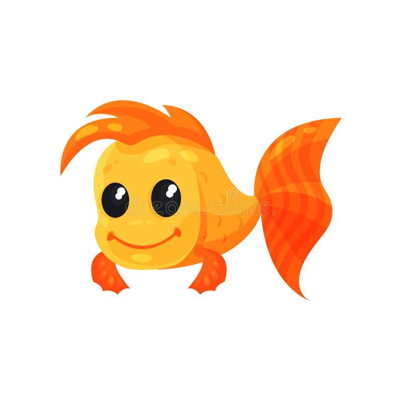 Netter netter Goldfisch, lustige Fischzeichentrickfilm-figur-Vektor Illustration auf einem weißen Hintergrund vektor abbildung
