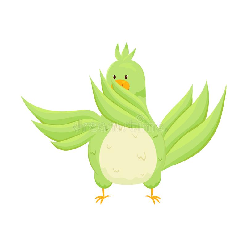 Netter grüner glücklicher Papagei tanzt am modernen Lied stock abbildung