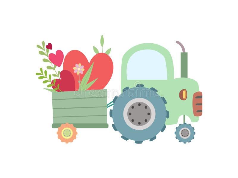 Netter grüner Traktor mit dem Wagen voll von der roten Herz-Vektor-Illustration lizenzfreie abbildung