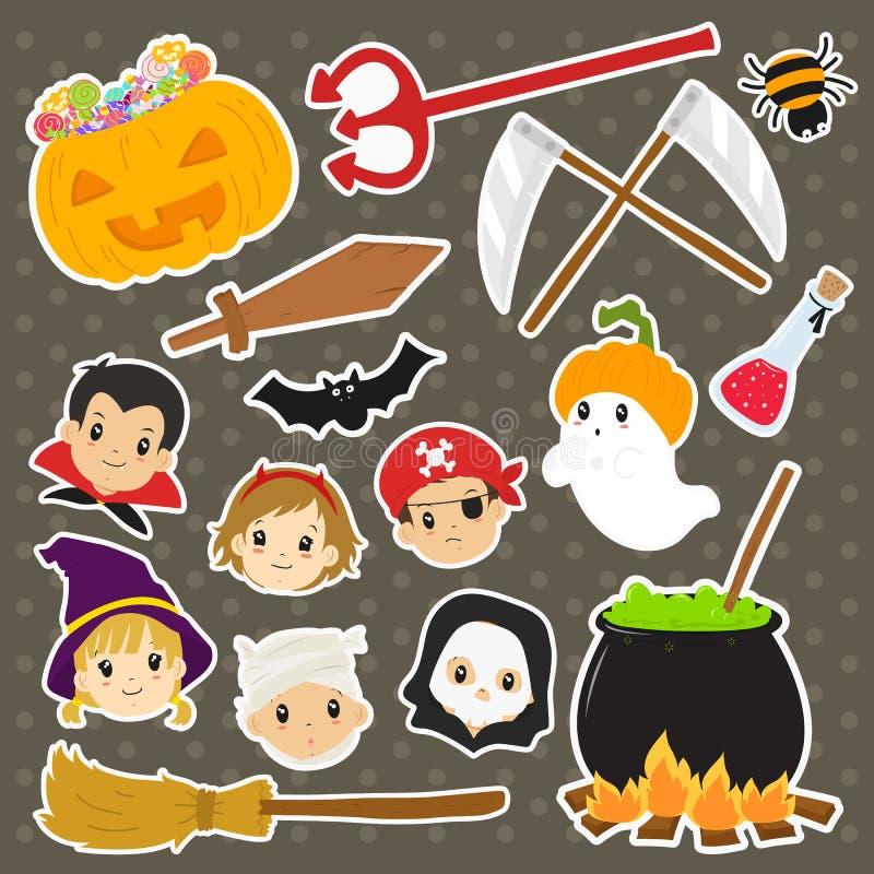 Netter Halloween-Aufkleber-Vektor-Satz lizenzfreie abbildung