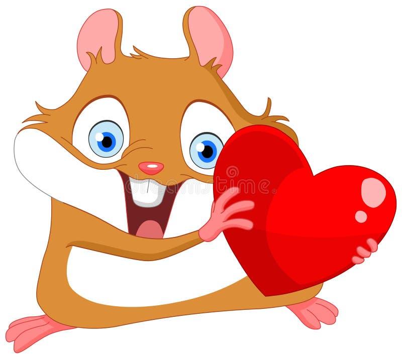 Netter Hamster-Valentinsgruß stock abbildung