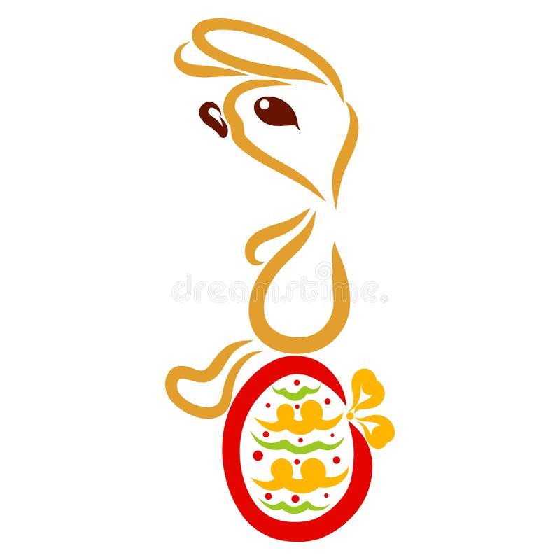 Netter Hase sitzt auf einem verzierten Osterei lizenzfreie abbildung