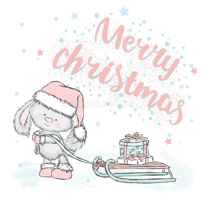 Netter Hase trägt Geschenke auf Schlitten Weihnachtskarte mit einem Kaninchen vektor abbildung
