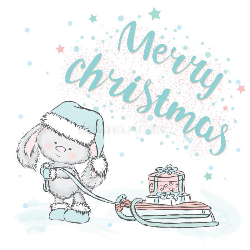 Netter Hase trägt Geschenke auf Schlitten Weihnachtskarte mit einem Kaninchen beschriftung lizenzfreie abbildung