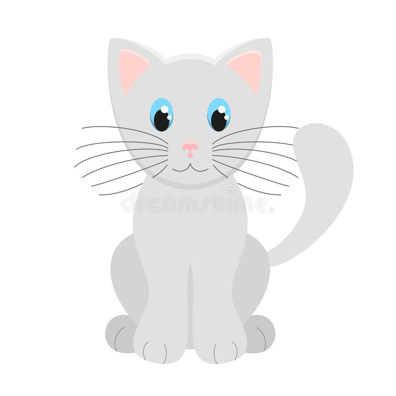 Netter heller Grey Kitten Vector Illustration On White-Hintergrund vektor abbildung