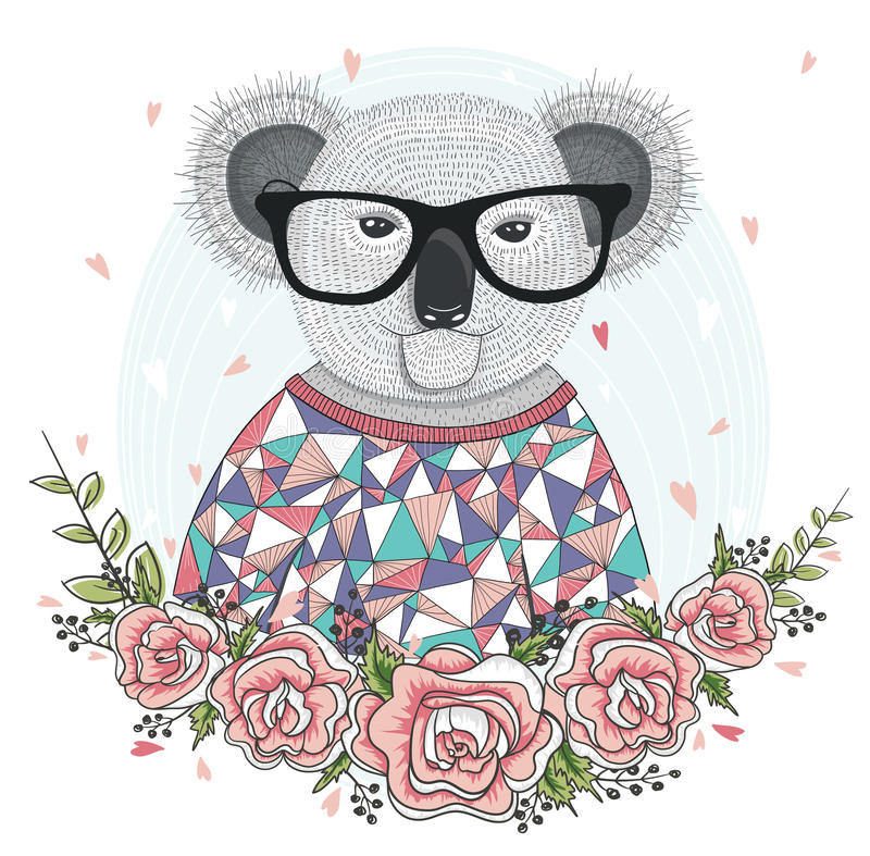 Netter Hippie-Koala mit Gläsern vektor abbildung