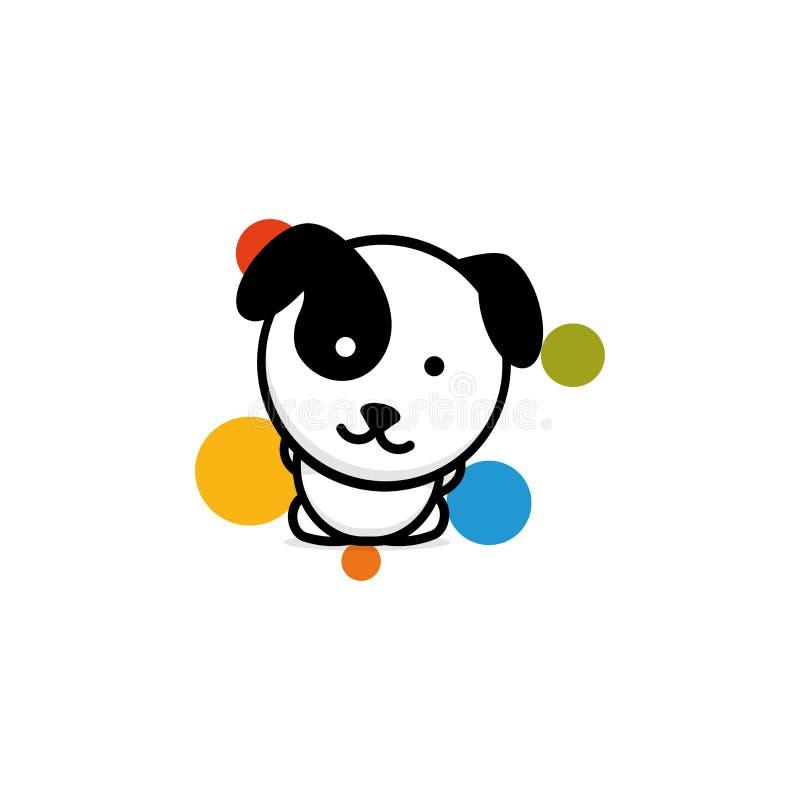 Netter Hund mit bunten Bällen vector Illustration, Baby-Welpenlogo, neue Designkunst, streicheln schwarzes Farbzeichen, einfaches stock abbildung
