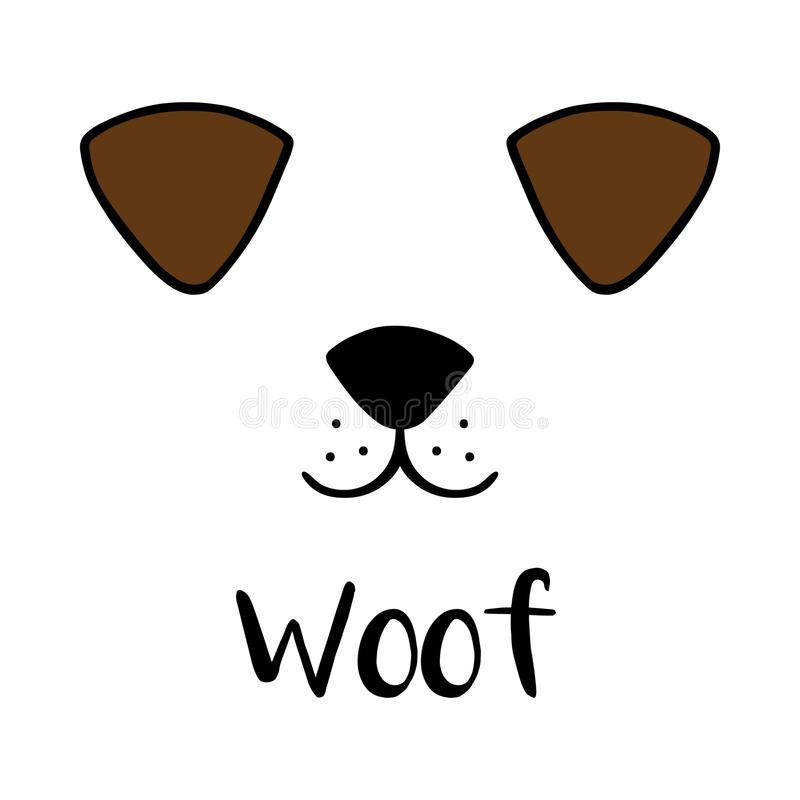 Netter Hund-` s Kopf, Schussschreiben vektor abbildung