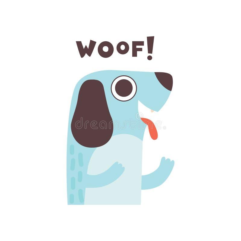 Netter Hund Woofing, lustiges Karikatur-Haustier-Tier, das Schuss solide Vektor-Illustration macht stock abbildung