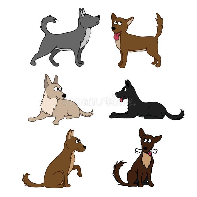 Netter Hundegesetzte unterschiedliche Zucht von Hunden Vektorsatz Ikonen Vector die Illustration, die auf Weiß, lustige Hunde der vektor abbildung