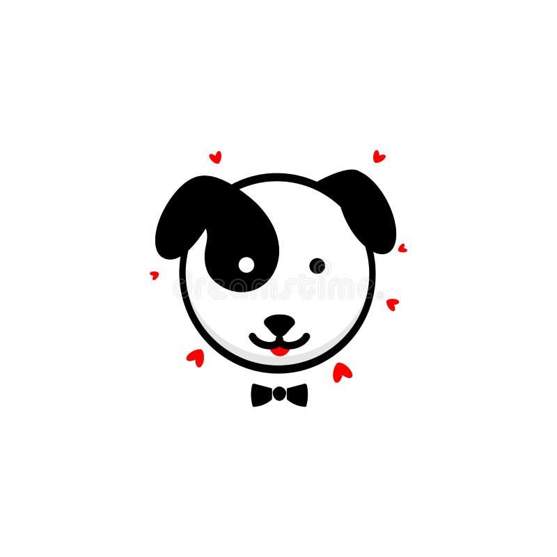 Netter Hundeherr bekennt seine Liebesvektorillustration, Baby-Welpenlogo, neue Designkunst, streicheln das schwarze Farbzeichen,  vektor abbildung