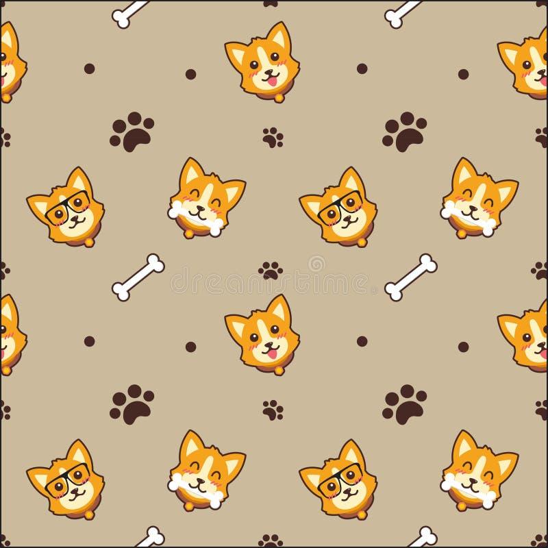 Netter Hundenahtloser Muster-Vektorhintergrund stock abbildung
