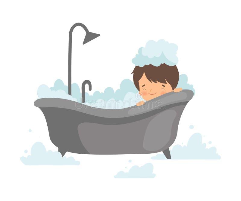 Netter Junge, der Bad mit Schaum, entzückendes Kleinkind im Badezimmer, tägliche Hygiene-Vektor-Illustration nimmt stock abbildung