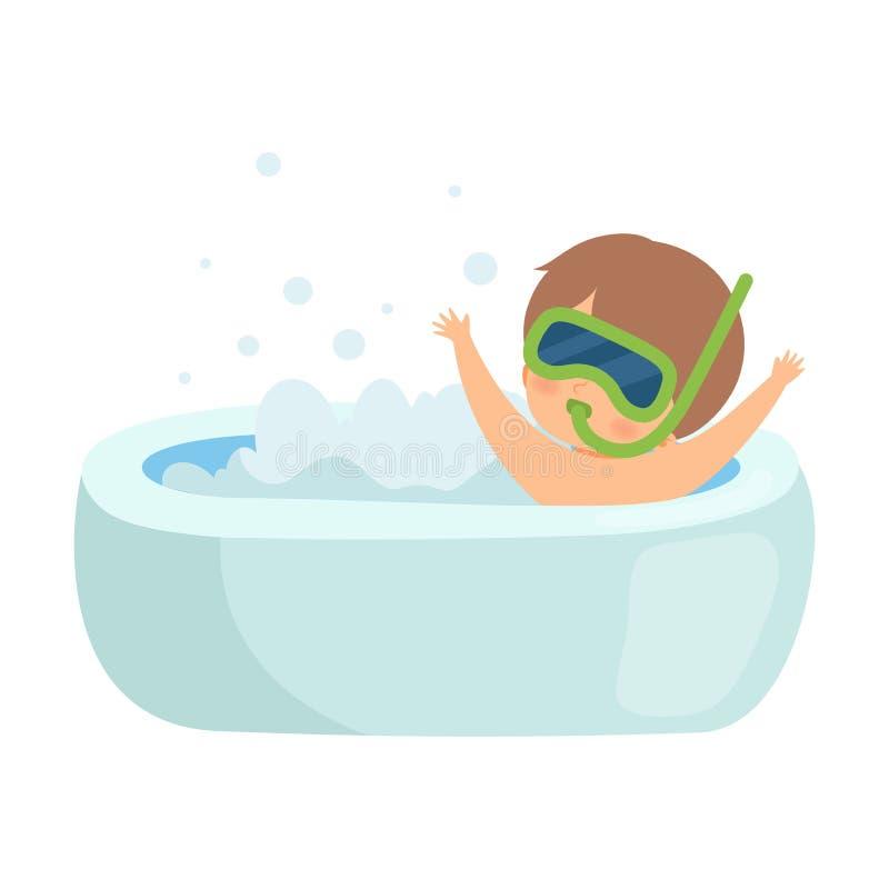 Netter Junge, der Bad nimmt und mit Schnorchel-Maske in der Badewanne voll vom Schaum, entzückendes Kind im Badezimmer, tägliche  lizenzfreie abbildung
