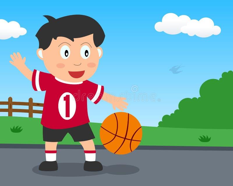 Netter Junge, der Basketball im Park spielt stock abbildung