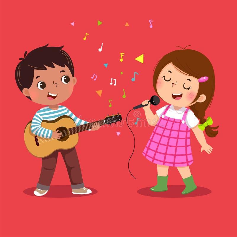 Netter Junge, der die Gitarre und kleines Mädchen singen auf rotem Hintergrund spielt lizenzfreie abbildung