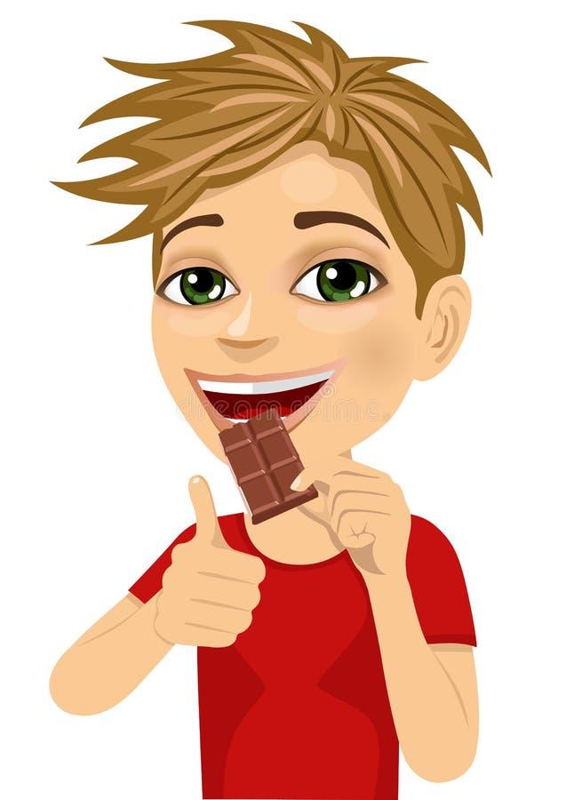 Netter Junge, der die Schokolade sich zeigt Daumen isst stock abbildung