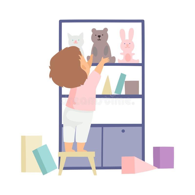 Netter Junge, der seine Spielwaren aufräumt und sie in Schrank, Kind zu Hause tut Hausarbeit-Aufgaben-Vektor-Illustration einsetz lizenzfreie abbildung