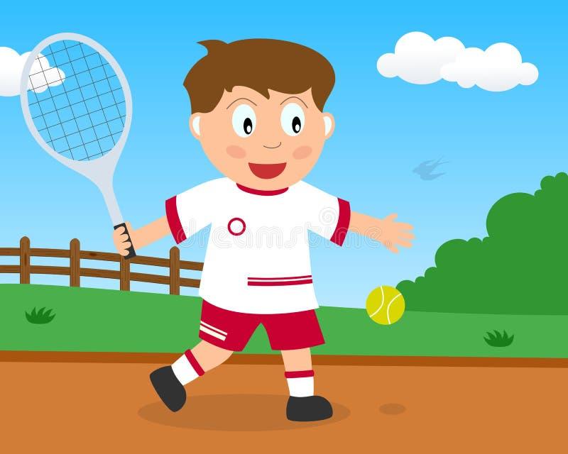Netter Junge, der Tennis im Park spielt lizenzfreie abbildung