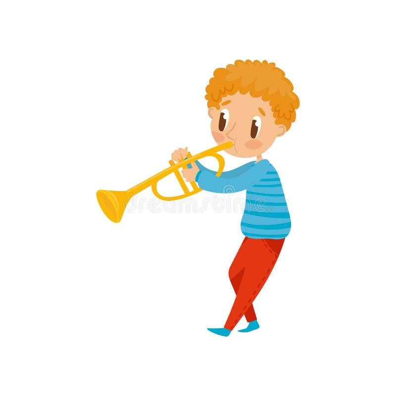 Netter Junge, der Trompete, kleinen Musikercharakter mit Musikinstrumentkarikaturvektor Illustration auf einem Weiß spielt stock abbildung