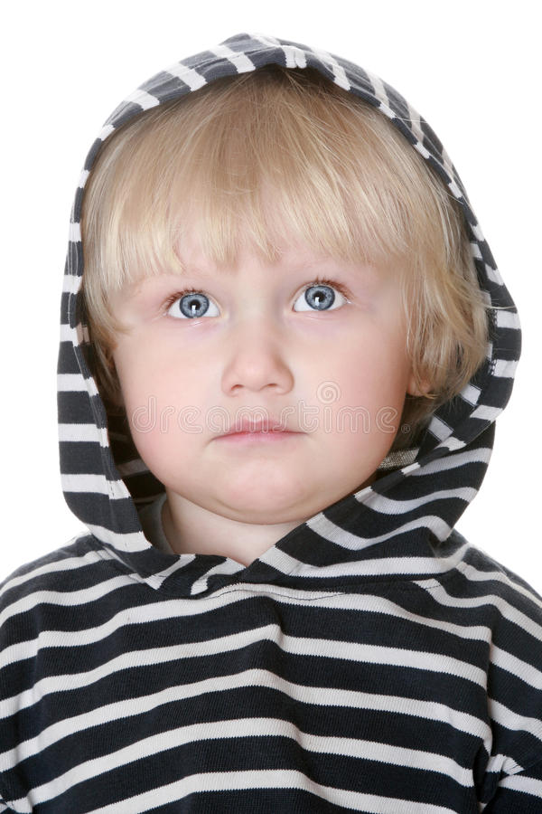 Netter Junge in einer gestreiften Weste lizenzfreie stockbilder